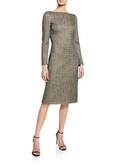 St. John Bateau-Neck Long-Sleeve Golden Evening Shimmer Knit Dress