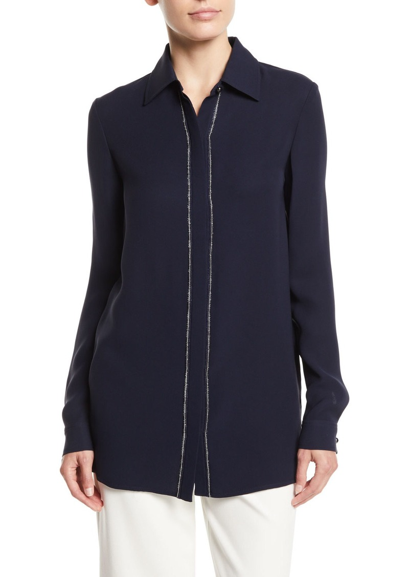 St. John Beaded Button-Front Long-Sleeve Silk Blouse