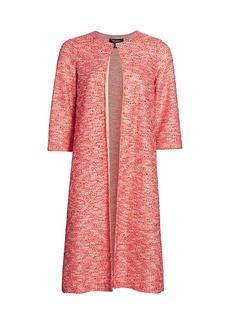 St. John Beaded Confetti Tweed Knit Long Jacket