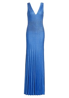 St. John Beaded Plissé Knit Sequin Gown