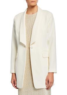 St. John Bella Double Weave Jacket w/ Angled Shawl Collar