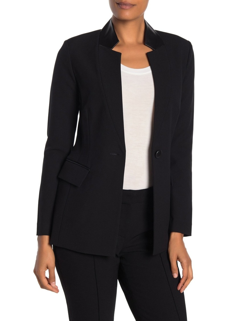 St. John Bella Leather Collar Blazer