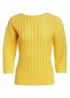 St. John Boatneck Cotton Pullover