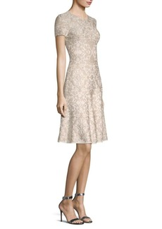 St. John Brocade Floral A-Line Dress