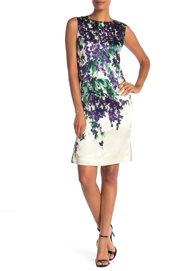 St. John Budding Floral Silk Blend Charmeuse Sheath Dress