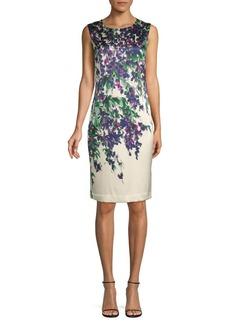 St. John Budding Floral Stretch Silk Sheath Dress