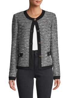 St. John Button-Front Wool-Blend Cardigan