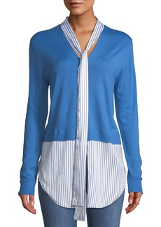 St. John Cardigan & Striped Shirt Contrast Top