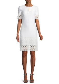 St. John Caris Knit Lace-Trim Split-Neck Dress