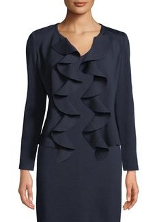 St. John Cascading Ruffle-Front Milano Knit Jacket