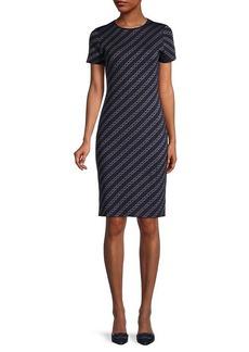 St. John Chain Link-Print Sheath Dress