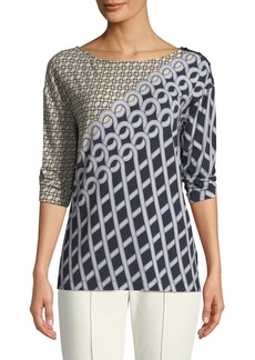 St. John Chain Swirl 3/4-Sleeve Top