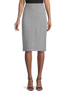 St. John Checker Knit Pencil Skirt