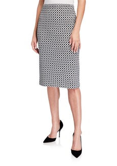 St. John Checker Knit Wool-Blend Skirt