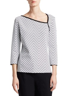 St. John Chevron Jacquard Asymmetric Neck Top