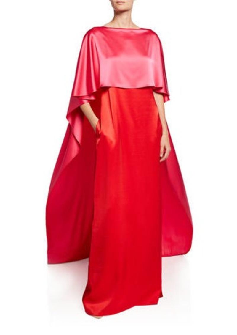 St. John Colorblock Bateau-Neck V-Back Liquid Satin Gown with Cape