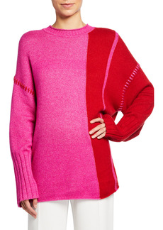 St. John Colorblock Cashmere-Blend Sweater