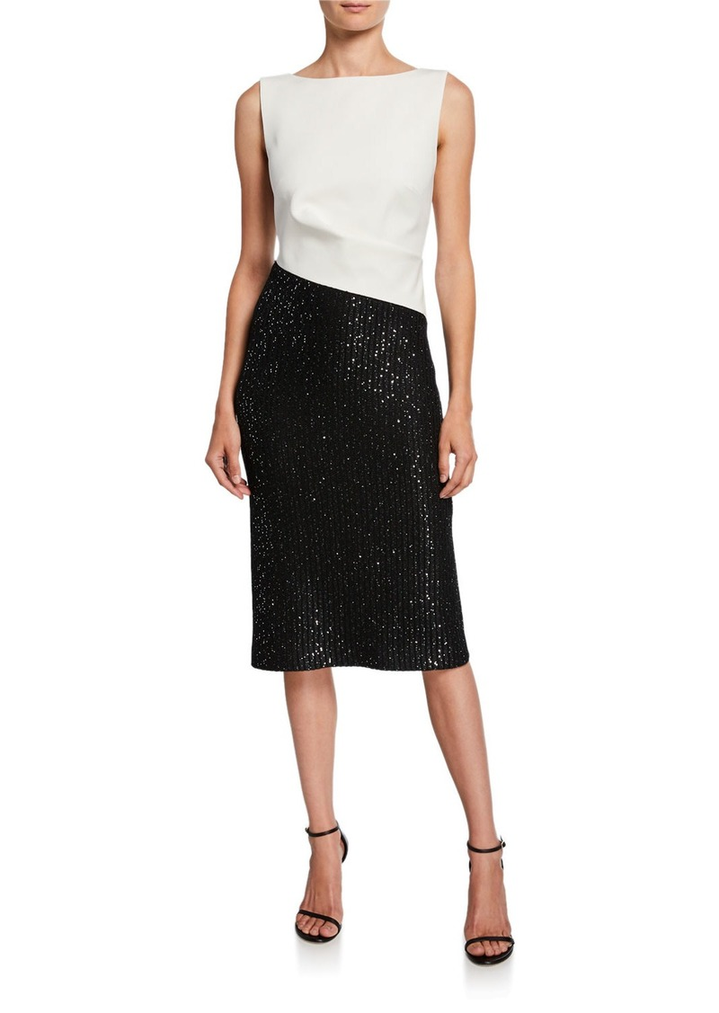 St. John Colorblock Sleeveless Tuxedo Bodice Dress w/ Sequin Rib Knit Skirt