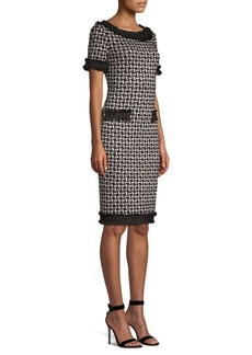 St. John Contrast Shine Knit Sheath Dress