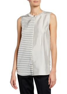 St. John Contrast Striped Twill Tank Top