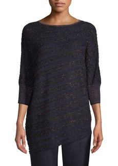 St. John Copper Eyelash Lace Knit Sweater