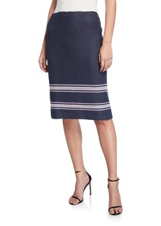 St. John Cord Inlay Pencil Skirt