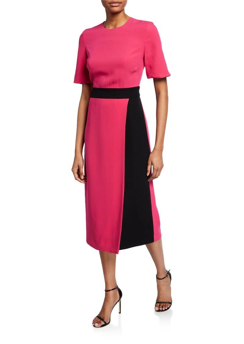 St. John Crewneck Elbow-Sleeve Heavy Georgette Dress w/ Contrast Wrap Detail