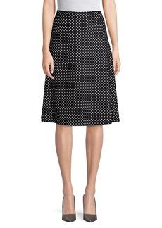 St. John Dot-Print A-Line Skirt