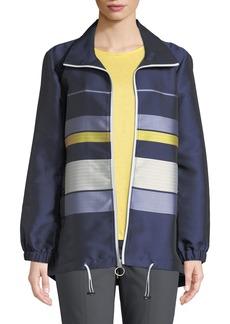St. John Double-Face Striped Twill Zip-Front Jacket