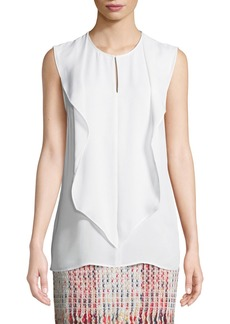 St. John Draped Georgette Keyhole Silk Top