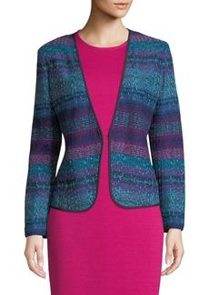 St. John Ellah Collarless Striped Knit Jacket