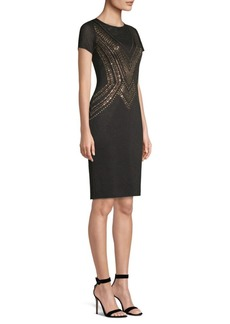 St. John Embellished Layered Pointelle Sheath Dress