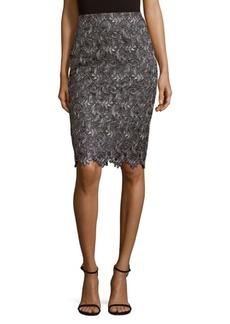 St. John Embroidered Knee-Length Skirt