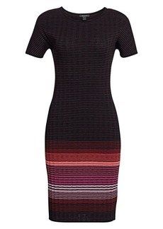 St. John Engineered Ombré Rib-Knit Sweater Dress