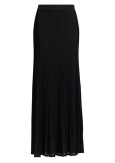 St. John Engineered Ottoman Plissé Maxi Skirt