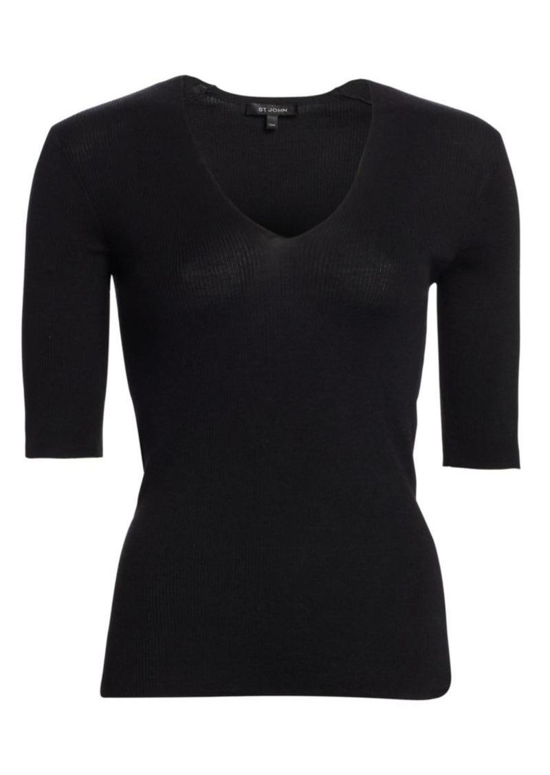 St. John Fine Rib-Knit Short-Sleeve Top