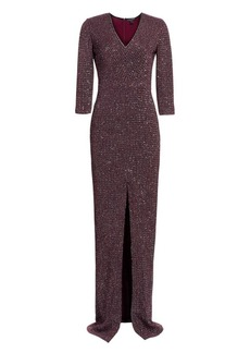 St. John Fine Sequin Tweed V-Neck Column Gown