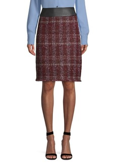 St. John Flecked Textured Tweed Pencil Skirt