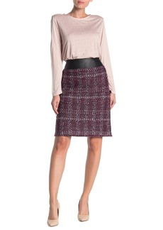 St. John Flecked Textures Plaid Knit Skirt