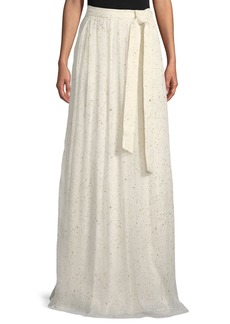 St. John Flocked Glitter Crinkle Chiffon Floor-Length Skirt