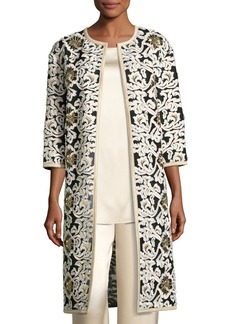 St. John Floral Fringe Embroidered Tulle 3/4-Sleeve Jacket