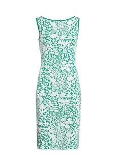 St. John Floral Jacquard Knit Sheath Dress