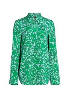 St. John Floral Markings Silk Blend Shirt
