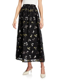 St. John Floral Organza A-Line Skirt