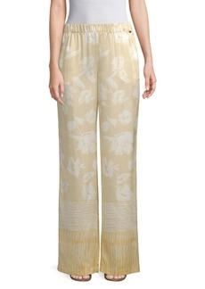 St. John Floral-Print Silk Pants