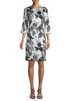 St. John Floral-Print Stretch-Silk Sheath Dress