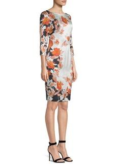St. John Floral Stretch-Silk Sheath Dress