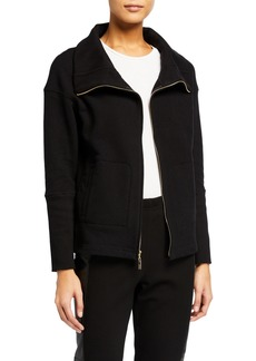 St. John French Terry Stand Collar Jacket