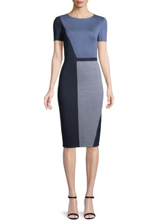 St. John Geometric Colorblock Milano Sheath Dress