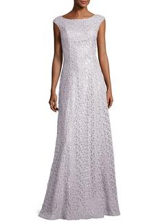 St. John Gita Guipure Lace Bateau-Neck Gown